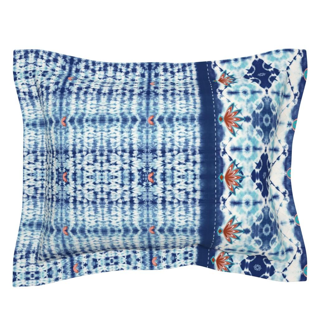 Sebright Pillow Sham featuring Shibori boho style - indigo dyed by designed_by_debby