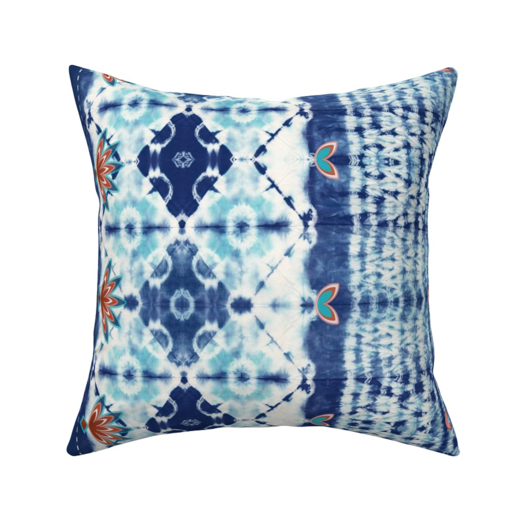 Catalan Throw Pillow featuring Shibori boho style - indigo dyed by designed_by_debby