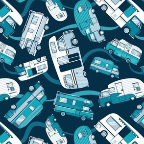 Small scale // Topsy turvy home sweet motor home // teal and pastel blue camper vans on navy blue background