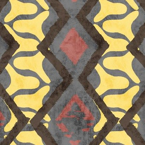 19-08b Snakeskin Abstract Yellow Charcoal 5x8