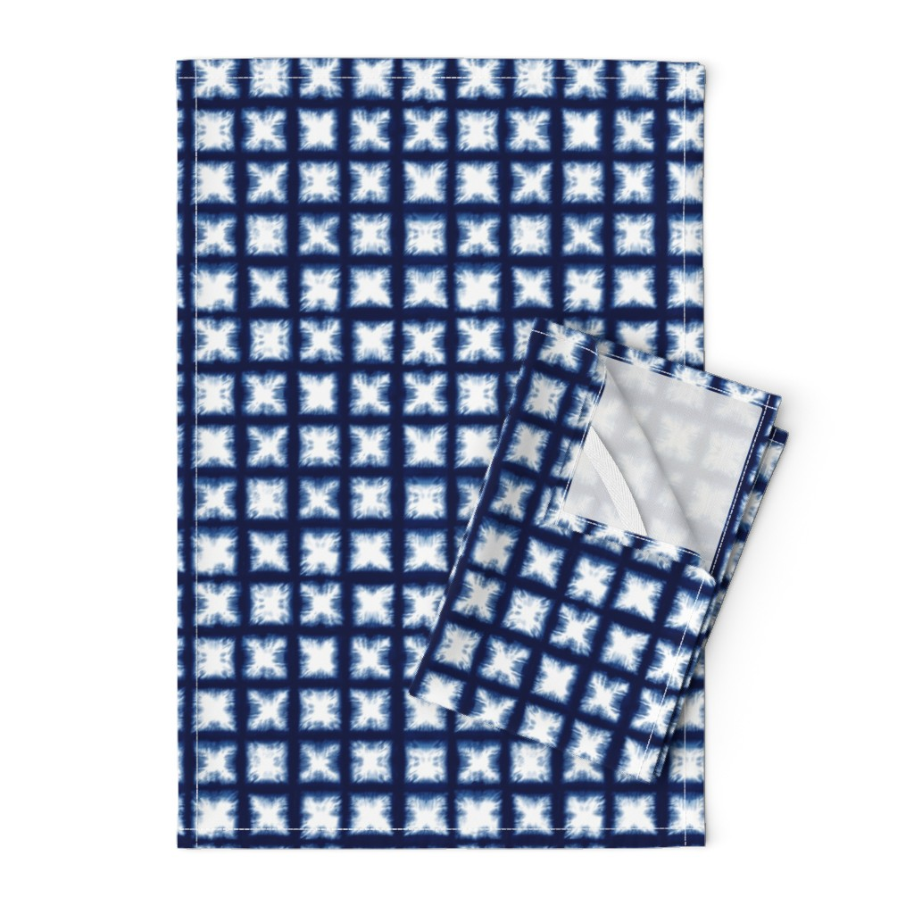 Orpington Tea Towels featuring Shibori Granny Squares - Indigo on White - © Autumn Musick 2019 by autumn_musick