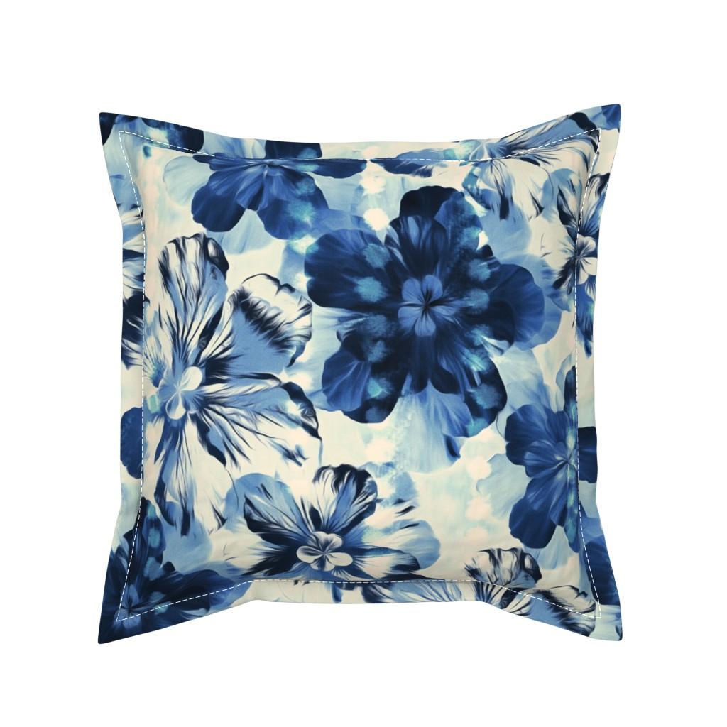 Serama Throw Pillow featuring Shibori Inspired Oversized Indigo Floral by micklyn