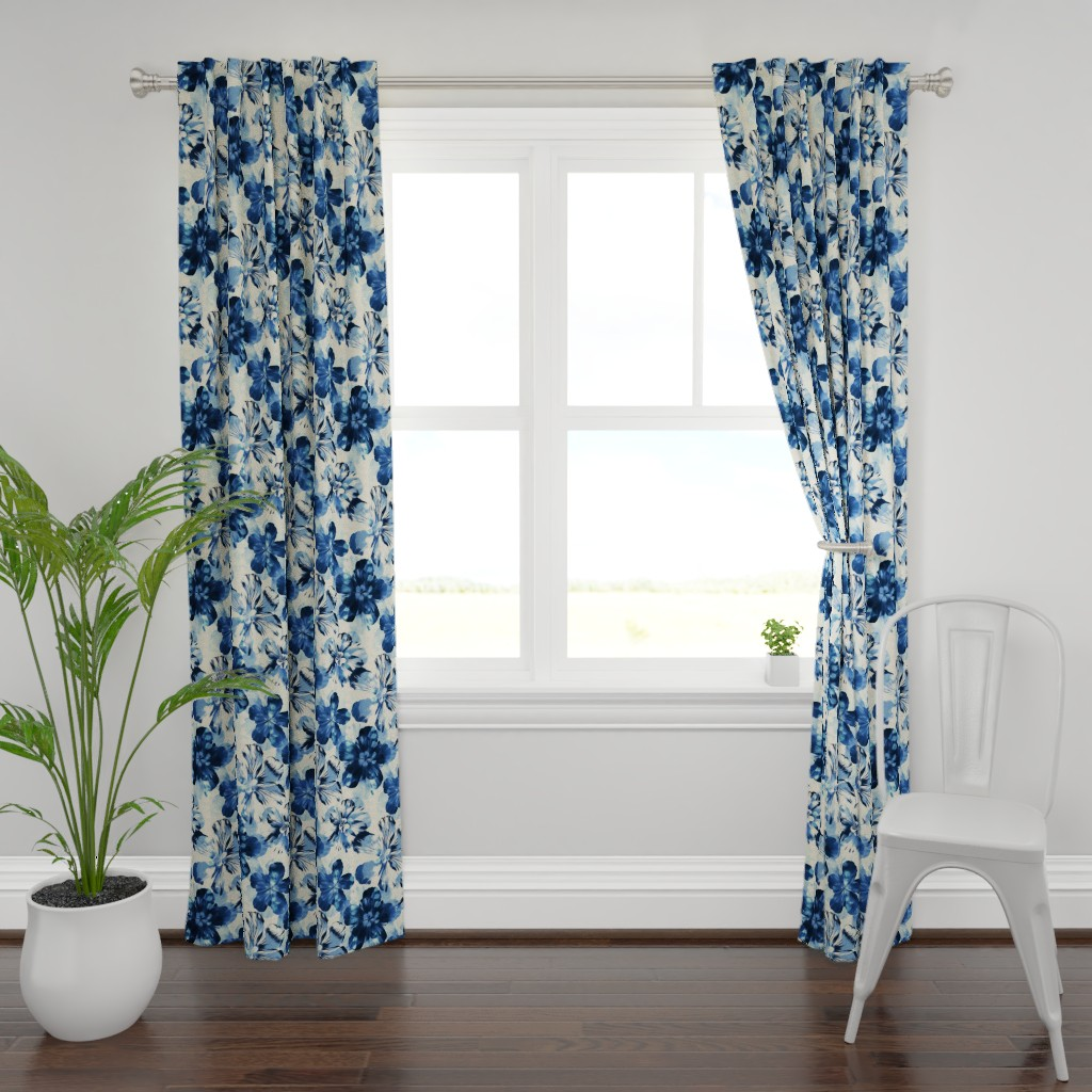 Plymouth Curtain Panel featuring Shibori Inspired Oversized Indigo Floral by micklyn