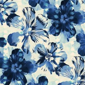 Shibori Inspired Oversized Indigo Floral