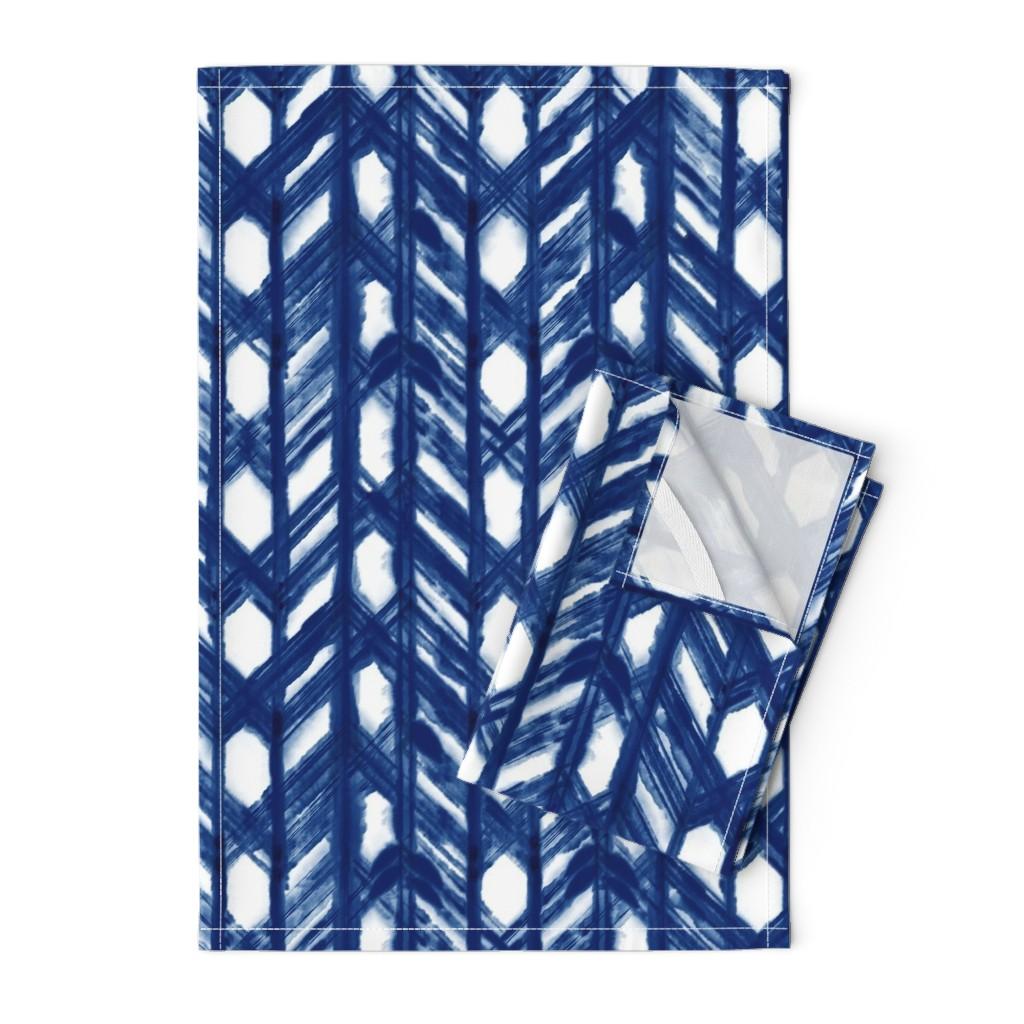 Orpington Tea Towels featuring Shibori Lattice - Indigo on White - © Autumn Musick 2019 by autumn_musick