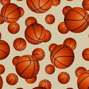 Traditional orange basketballs on beige - small