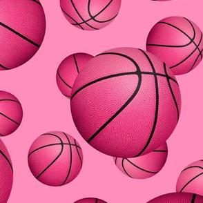 Pink basketballs pattern on pink - large