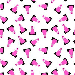 pink traffic cones