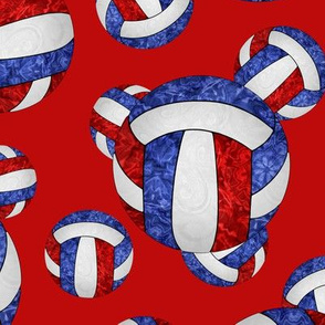 Red white and blue volleyballs on red - large