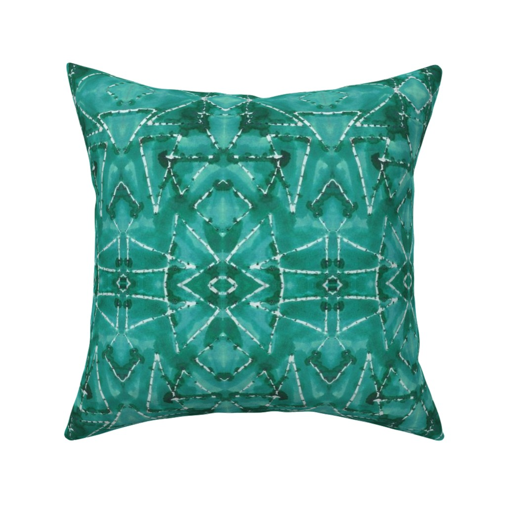 Catalan Throw Pillow featuring Shibori TrianglesTurquoise by merry_makewell_designs