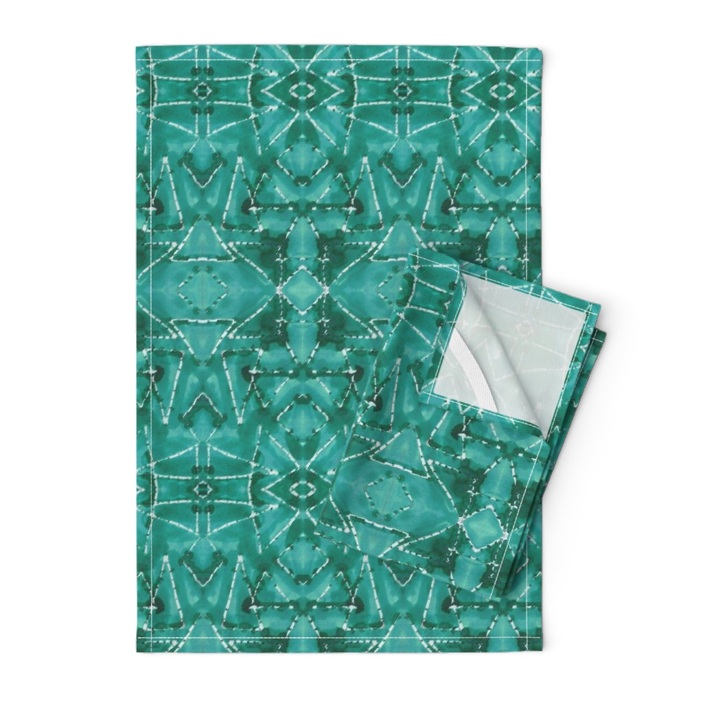 Orpington Tea Towels featuring Shibori TrianglesTurquoise by merry_makewell_designs