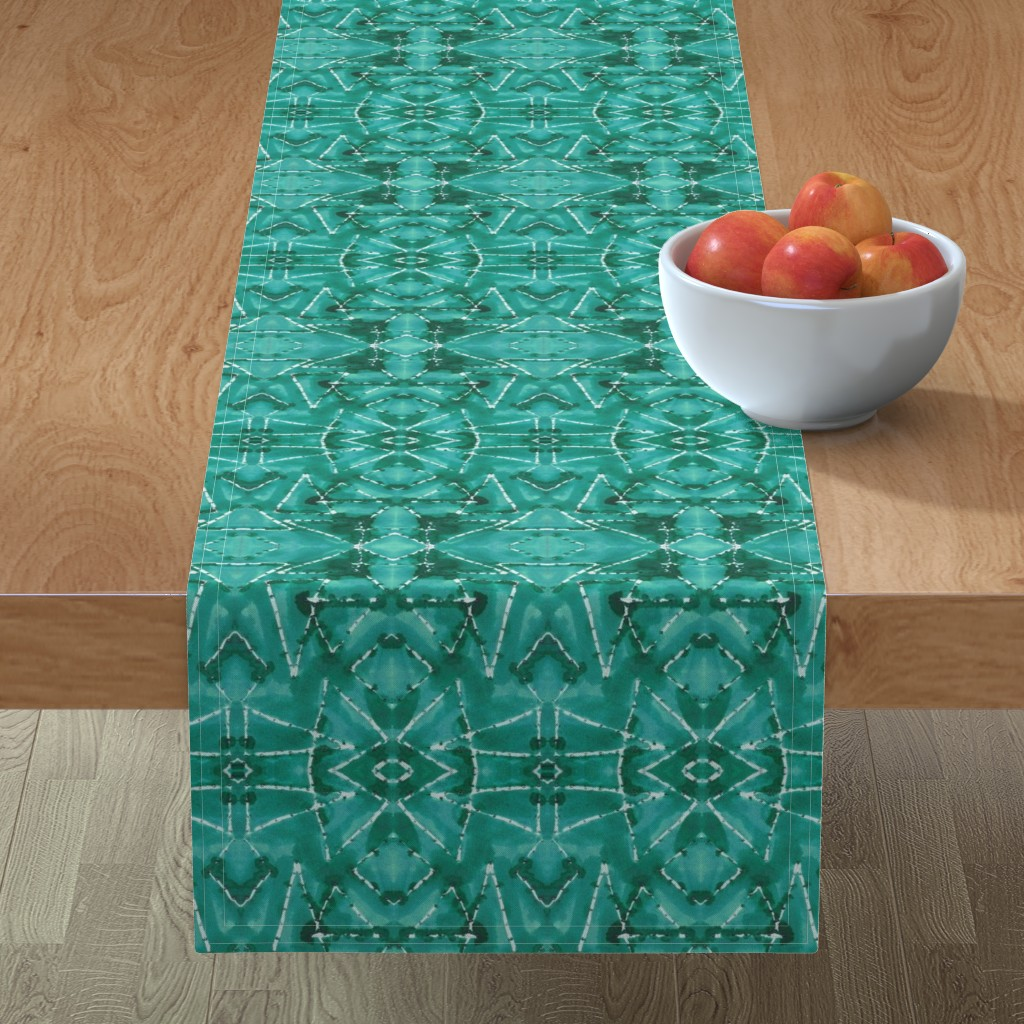 Minorca Table Runner featuring Shibori TrianglesTurquoise by merry_makewell_designs