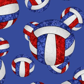 Red white and blue volleyballs on blue - large