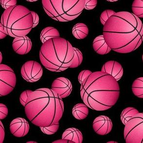 Pink basketballs on black - small