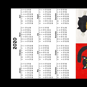 2020 Fat Cat Calendar Tea Towel