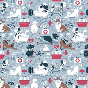 Tiny scale // VET medicine happy and healthy friends // pastel blue background red details navy blue white and brown cats dogs and other animals