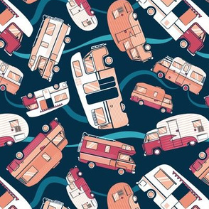 Small scale // Topsy turvy home sweet motor home // orange coral and red camper vans on navy blue background