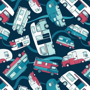 Small scale // Topsy turvy home sweet motor home // aqua teal and red camper vans on navy blue background