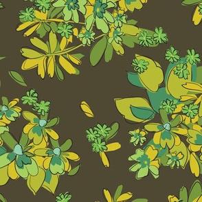 70's Bedsheets Brown Green