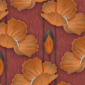 Art Deco Poppies Burnt Orange