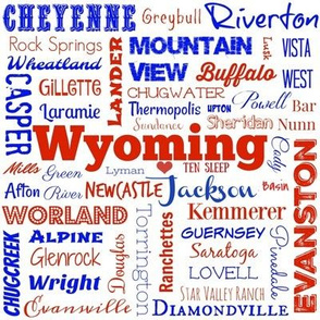Cities of Wyoming, red white and blue