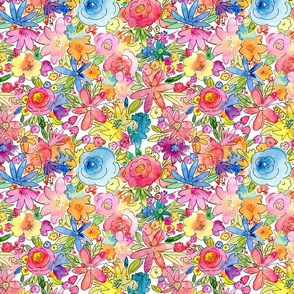 floral stacked happy watercolor flowers