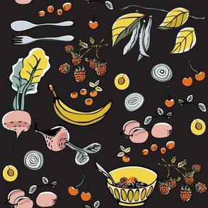 Organic Fruits and Veggies Dark