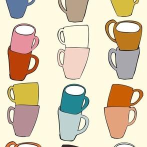 Black and White Coffee Mugs Large