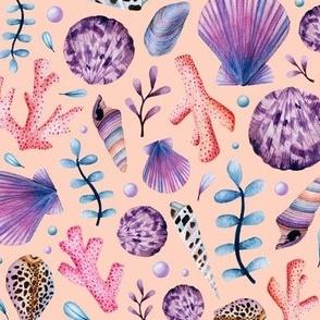 Seashells Scallop and Pearls