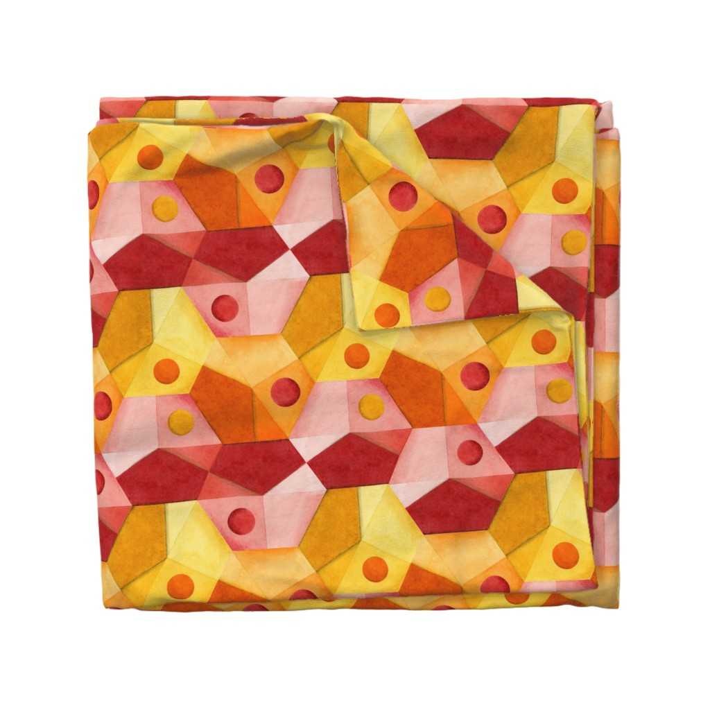 Wyandotte Duvet Cover featuring Abstract Minimalism Hexagons by patriciasheadesigns