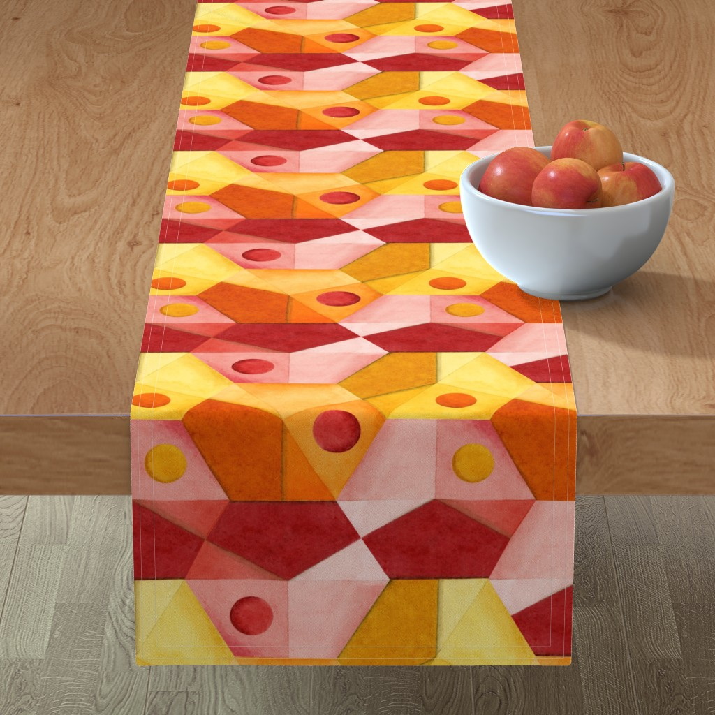 Minorca Table Runner featuring Abstract Minimalism Hexagons by patriciasheadesigns