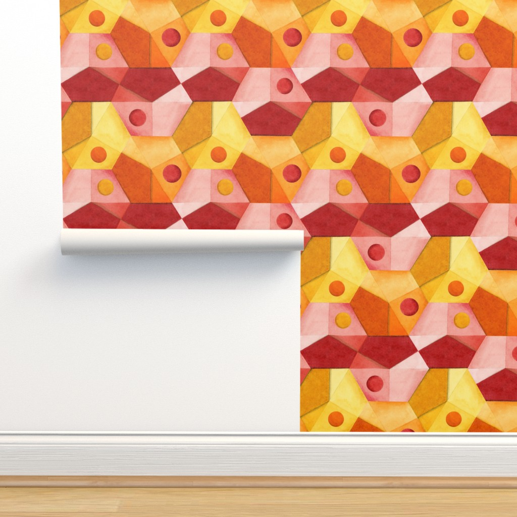 Isobar Durable Wallpaper featuring Abstract Minimalism Hexagons by patriciasheadesigns