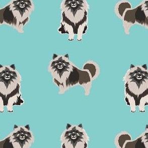 keeshond dog fabric - dog fabric, dogs fabric, keeshond dog, dog breeds fabric - blue