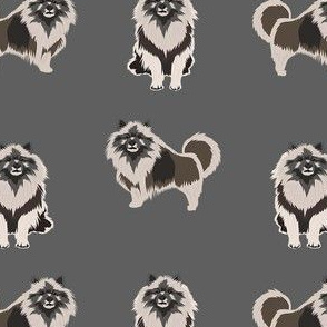 keeshond dog fabric - dog fabric, dogs fabric, keeshond dog, dog breeds fabric - grey