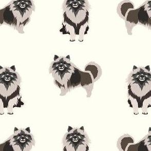 keeshond dog fabric - dog fabric, dogs fabric, keeshond dog, dog breeds fabric -cream