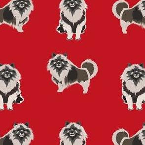 keeshond dog fabric - dog fabric, dogs fabric, keeshond dog, dog breeds fabric - red