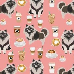 keeshond coffee fabric - dog fabric, dogs fabric, keeshond fabric - pink