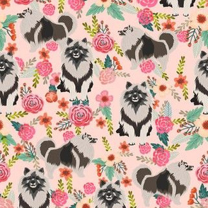 keeshond floral fabric - dog fabric, dogs fabric, floral dog, keeshond fabric - pink