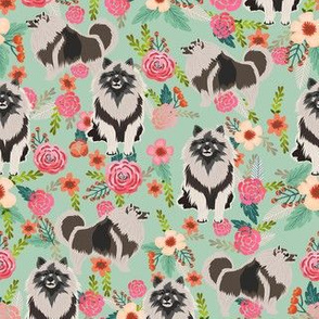 keeshond floral fabric - dog fabric, dogs fabric, floral dog, keeshond fabric - mint