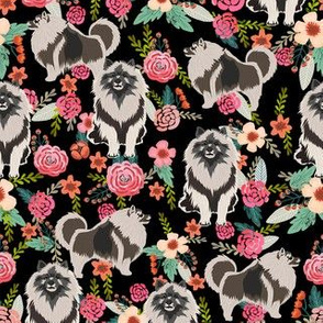keeshond floral fabric - dog fabric, dogs fabric, floral dog, keeshond fabric black