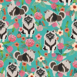 keeshond floral fabric - dog fabric, dogs fabric, floral dog, keeshond fabric - teal
