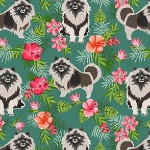 keeshond hawaiian fabric - dog fabric, keeshond fabric, dog breeds, dog breed, hawaiian fabric, tropical fabric - green