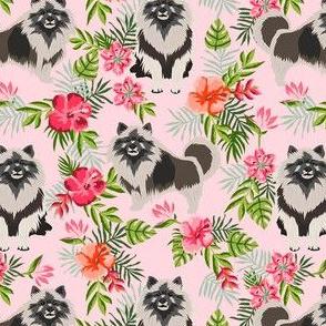 keeshond hawaiian fabric - dog fabric, keeshond fabric, dog breeds, dog breed, hawaiian fabric, tropical fabric - pink