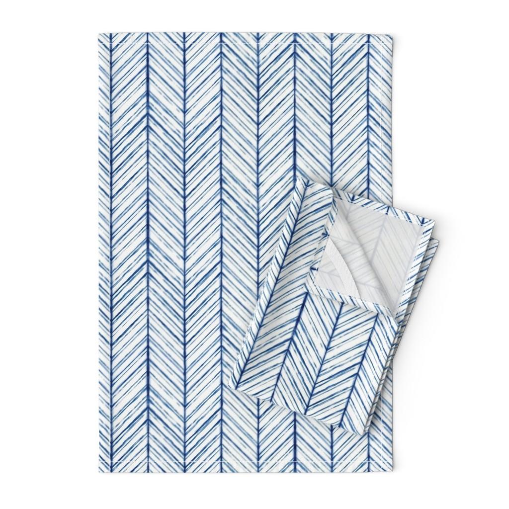 Orpington Tea Towels featuring Shibori Herringbone (Light) -  Indigo on White - © Autumn Musick 2019 by autumn_musick