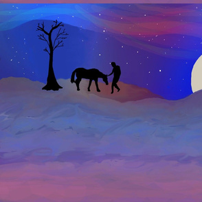 Man and his horse on a starry night