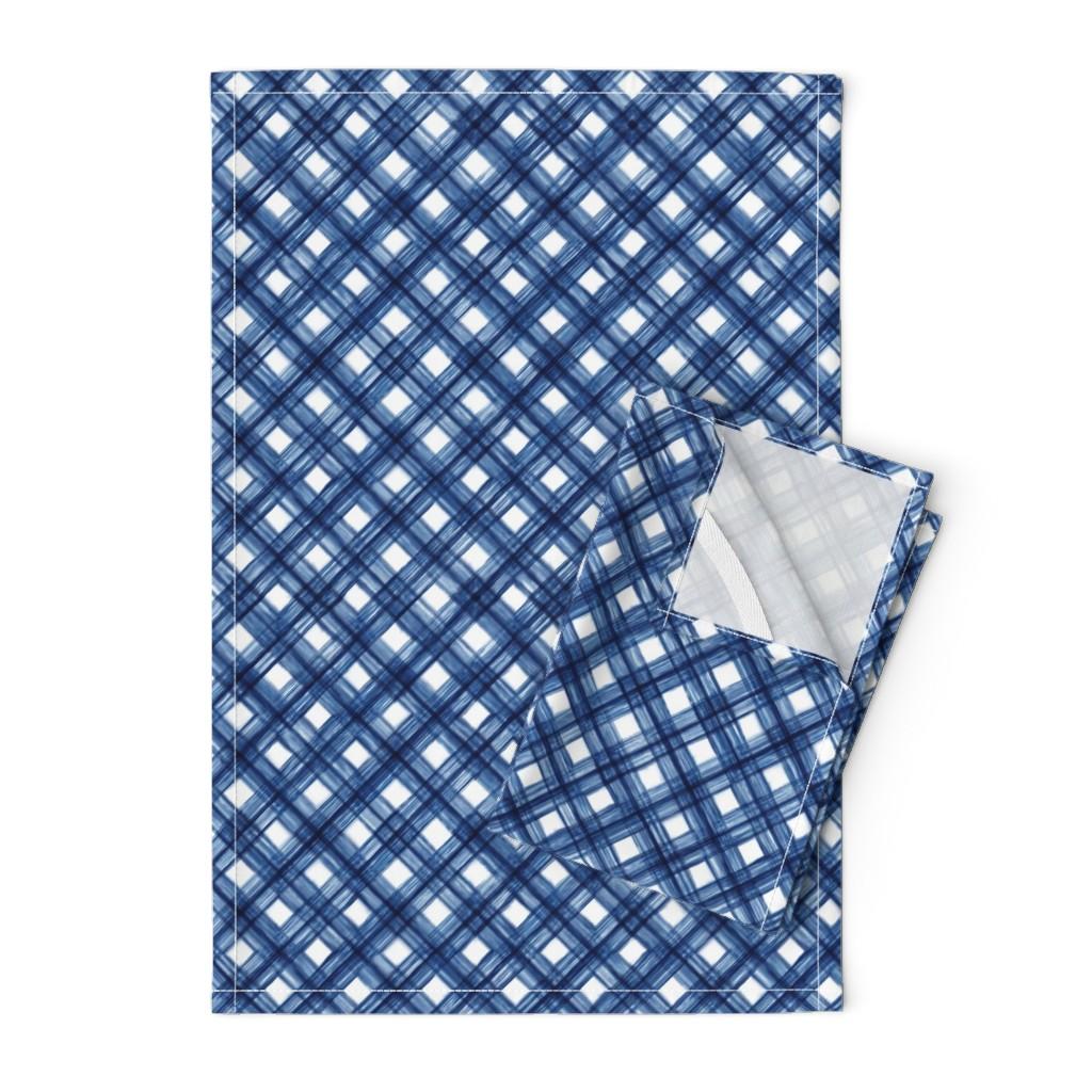 Orpington Tea Towels featuring Shibori Check - Indigo on White - © Autumn Musick 2019 by autumn_musick