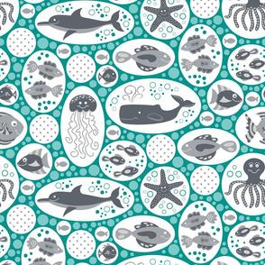 Aquatic Bubbles (Gray and Teal)