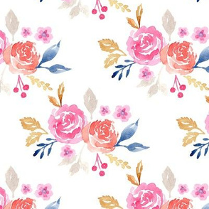 Pink and Coral Watercolor Flower Pattern 1