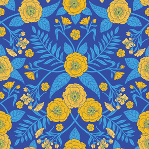 Bright Blue & Yellow Flowers