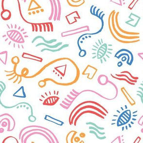 Colorful naive abstract doodles on white background